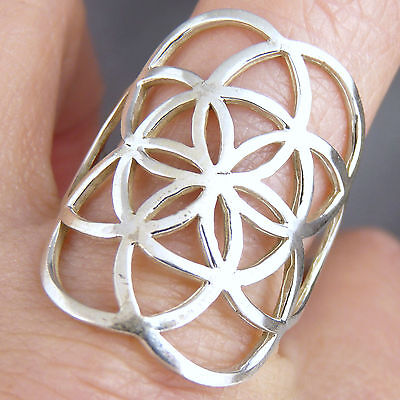 SEED OF LIFE Size US 8.75 SilverSari Jali Art Ring Solid 925 Sterling Silver