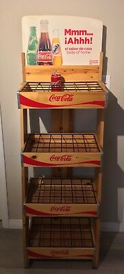 coca cola coke stand shelf display case racks hardwood collectible pop culture