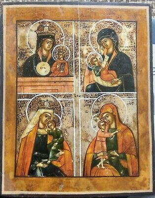 Four-part russian icon (late 19th) - Four Mothers of God