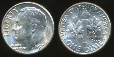 United States, 1957 Dime, Roosevelt (Silver) - Uncirculated
