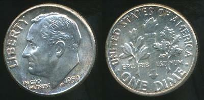 United States, 1959 Dime, Roosevelt (Silver) - Uncirculated