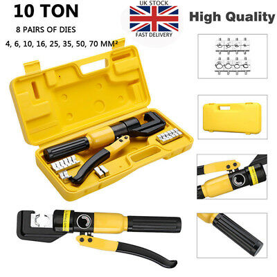 10Ton Hydraulic Crimper Tool Tube Terminal Lugs Battery Wire Crimping Force A