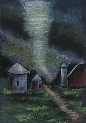 ACEO Orig. F2 Twister Tornadoes Weather Storms Tornado Alley Barn Landscape