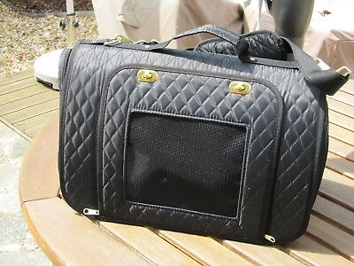 pet carrier, quilted, Black for small pet or puppy/kitten, zipped openings