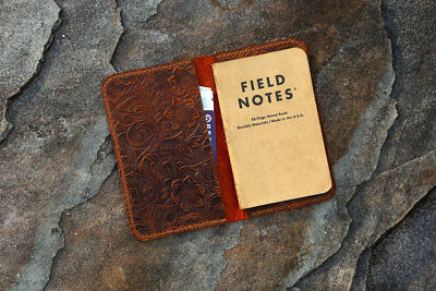 """vintage real leather journal cover for field notes 3.5 x 5.5 """" pocket size case"""