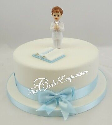 First Holy Communion small Girl or Boy Chalice, Bible, Cake Toppers Ribbon Sets