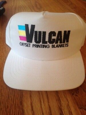 Vulcan Offset Printing Blanket Vintage Hat White New W/o Tags Snap Back