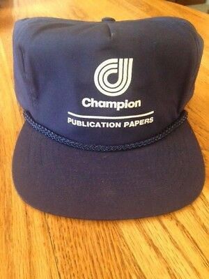 Champion Publication  Printing Paper Vintage Hat Navy New W/o Tags