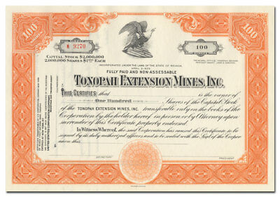 Tonopah Extension Mines, Inc. Stock Certificate