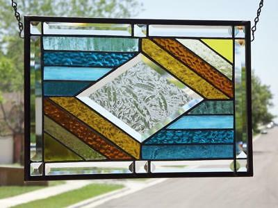 "• Center Stage • Beveled Stained Glass Window Panel • 15 1/2"" x 10 1/2"" (39 X 27"