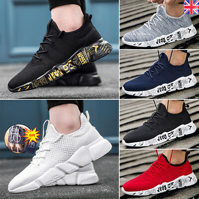 Mens Womens Running Trainers Lace Up Flat Comfy Gym Casual Sports Shoes Sneakers