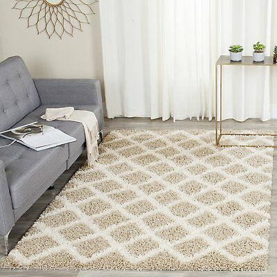 Safavieh Dallas Shag Collection SGD258D Beige and Ivory Area Rug (8' x 10')