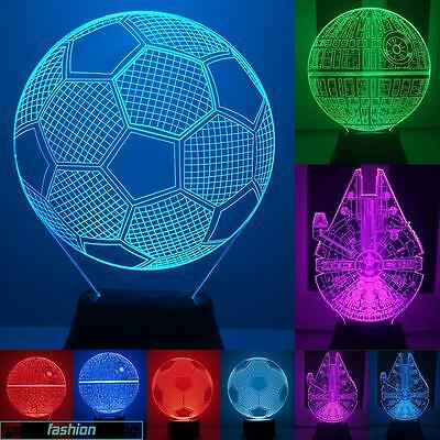 3D LED Illusion Light Skull Illuminated Micro USB 7 Color Lamp colores