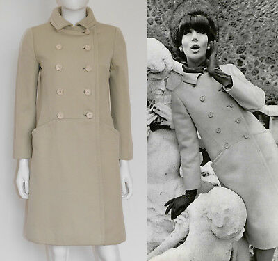 CHRISTIAN DIOR Haute Couture A/W 1965 Vintage Mantel Coat Documented 34/XS