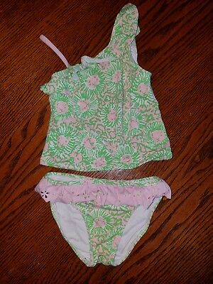 Toddler girls Lilly Pulitzer swimsuit bathing suit Lion Pink Green  3T / 3