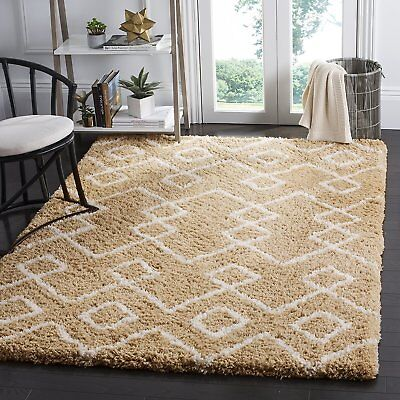 Safavieh Toronto Shag Collection SGT609B Beige and Ivory Area Rug (8' x 10')