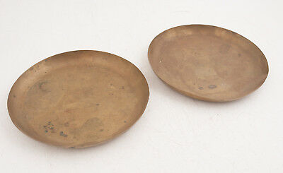 """Pair Solid Brass 8"""" Scale Pans (C5R) Dish Balance Vintage Weight .94 lbs Both"""