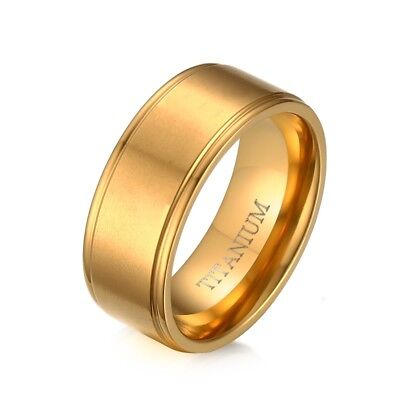 8mm Gold Plated Pure Titanium Ring Wedding Band Engagement Finger Ring US Sz8-12