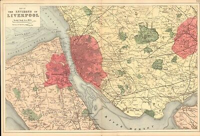1890 Ca ANTIQUE MAP - THE ENVIRONS OF LIVERPOOL, ST HELENS, RUNCORN, BIRKENHEAD