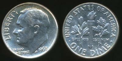 United States, 1963 Dime, Roosevelt (Silver) - Uncirculated