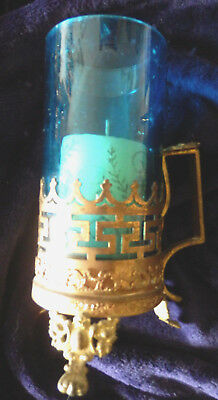 Antique French Napoleon III ormolu and blue glass candle lamp.