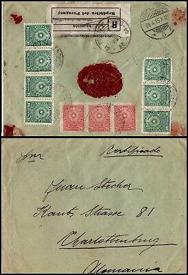 PARAGUAY: registered cover from Asuncion to Berlin-Charlottenburg 1915 (565)