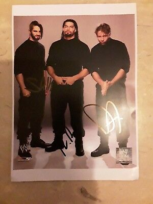 WWE The Shield Reigns, Rollins, Ambrose Handsigniertes Signed Autogramm Großfoto