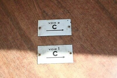 Sncf 2 Plaques Emaillees, Gare, Train, Locomotive, Cheminot Lot 1