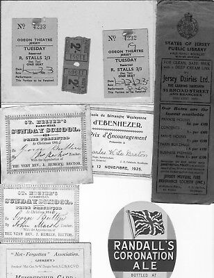 Ephemera Jersey , Various small items of tickets , Library Booklet , see scan
