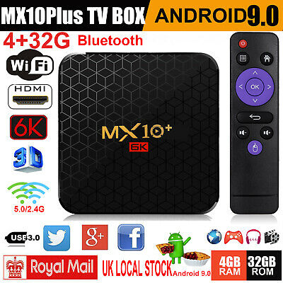 6K UHD 4+32G Android 9.0 OS 5G WIFI BT TV Box Quad Core HDMI 3D Media Streamer