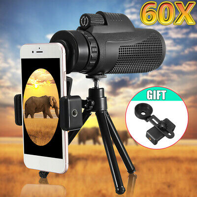 40X60 Zoom Monocular Telescope Telephoto Camera Lens + Phone Holder +Tripod Gift
