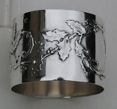 Antique French Sterling Silver Napkin Ring Art Nouveau Holly Details