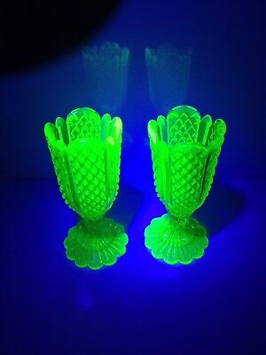 Rare Pair Of Antique Derbyshire Green Uranium Glass Chalice Vases Henry Greener