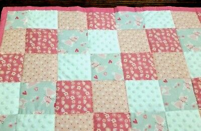 HANDMADE PINK/ WHITE/GRAY 34X43in BABY/TODDLER FLANNEL PATCHWORK QUILT GIFTIDEA