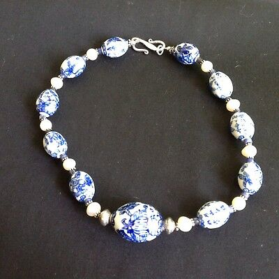 Vintage pearl and. Chinese Blue & White Porcelain Bead Necklace