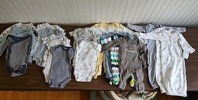 20 Piece Carter's Preemie Baby Boy Lot of Clothes Body Suits, Gowns, Sleepers