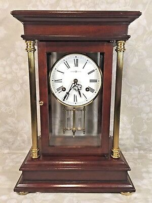 Vintage Howard Miller Tribute Crystal Regulator Clock Bell Strike Runs Wood Case
