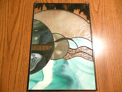 Stained Glass Abstract Window Art Panel  SPACE MOONS SATURN ???