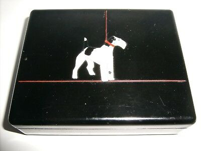 AIREDALE TERRIER BOX old cigarette playing card container