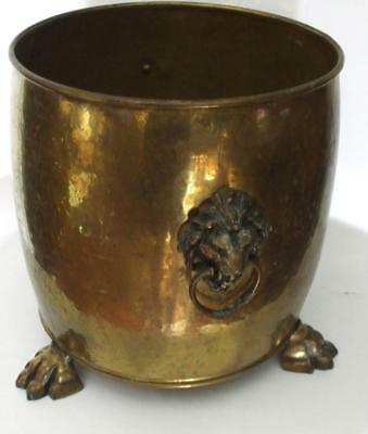 Large Brass can Basket Lion Head Handles 3 Claw Feet made in England