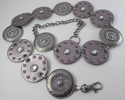 Vtg. Pewter Tone Metal & faux. Leather Rhinestone Disc Chain Belts