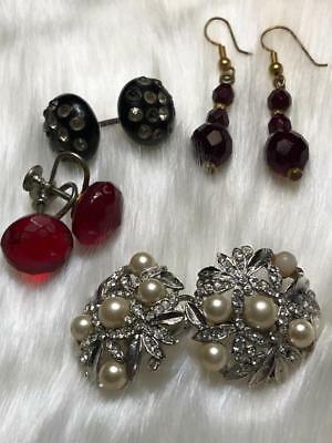Vintage Lot Of 3 Pair Of Earrings Cherry Red & Rhinestones & Buttons Art Deco