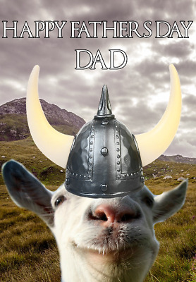 Funny Goat hs152 Viking Warrior Fun Cute Happy Father's Day Greeting Card