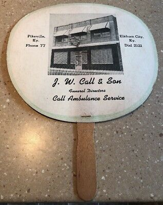 Vintage J.W. Call & Sons Funeral Home Advertising Hand Fan Pike County Kentucky