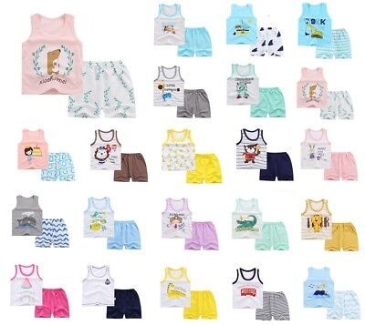 2Pc Toddler Baby Boys Girls Casual T-Shirt Tops+Shorts Set  Kids Clothes Outfits