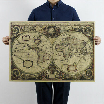 world map nautical ocean map vintage kraft paper poster wall chart sticker '