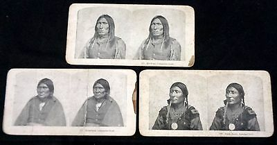 Rare ! 3 Stereoview Native American Indian Chiefs 2 Comanche And 1 Apache Chief
