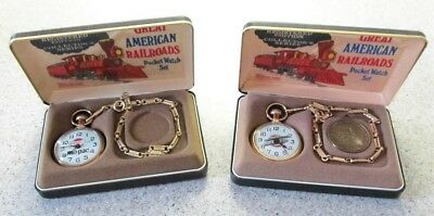 (2) Bradley Great American Railroad Pocket Watches Character LE Watch Train
