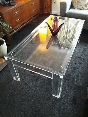 Stunning 1980's Glass and Perspex Coffee Table Originally Bought from Harrods