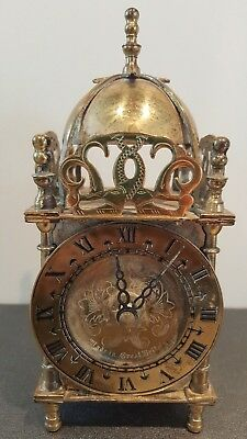 Vintage Smiths Brass Lantern Mantle Desk Clock Battery Operated
